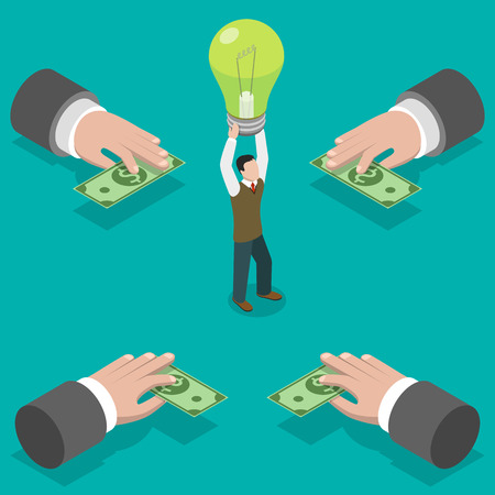 investing: Crowdfunding flat isometric vector concept. Hands give money to man taking a bulb over his head.  Investing into idea.