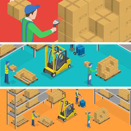 warehouse storage: Warehouse banners flat isometric vector illustration. Boxes and barrels loading to stacks by workers using forklift. Scanning of bar code. Illustration