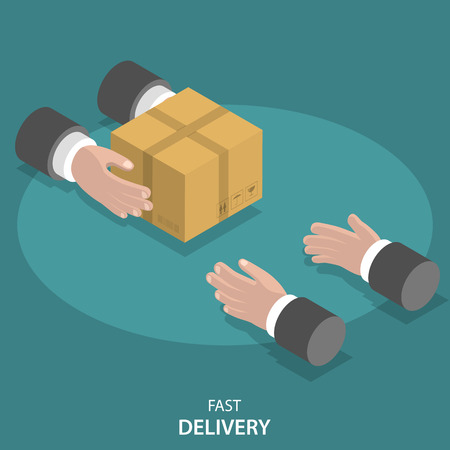 Fast goods delivery flat vector concept. Hands of delivery man give parcel to customers hands. Online shopping, payment, delivery.