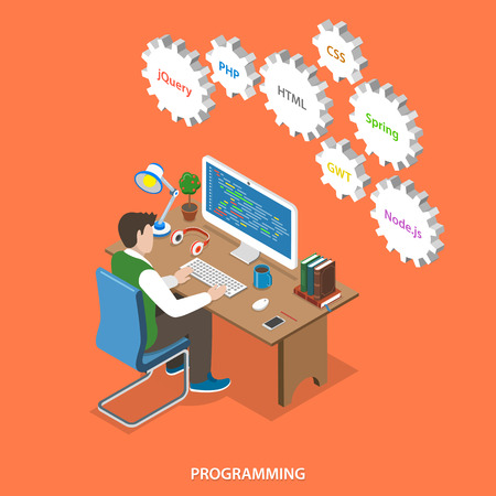 Programming flat isometric vector concept. Programmer sit at his work place, over him are gears with names of internet technologies. Programming, coding, testing, debugging, analyst, code developer. Ilustração