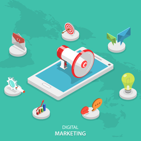 announcement icon: Digital marketing isometric flat vector concept. Megaphone stays on smartphone surrounded marketing icons. E-mail, video, blogging, social campaign, seo, advertising, blogging, communication.