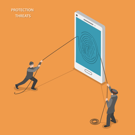 threats: Protection threats isometric flat vetor concept. Two thieves are stealing fingerprint from mobile phone.