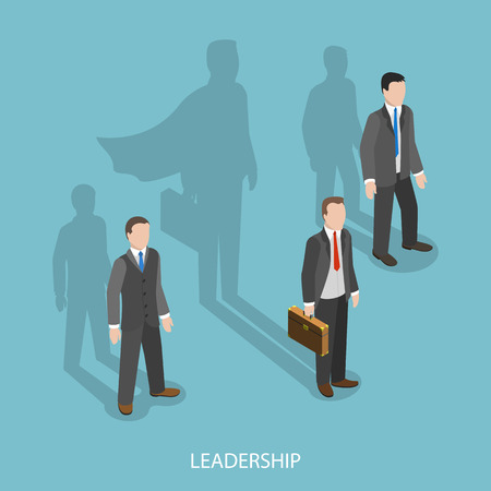 Leadership isometric flat vector concept. Three businessmen with shadows on the wall. Shadow of leader looks like a shodow of superhero. The business advantage.