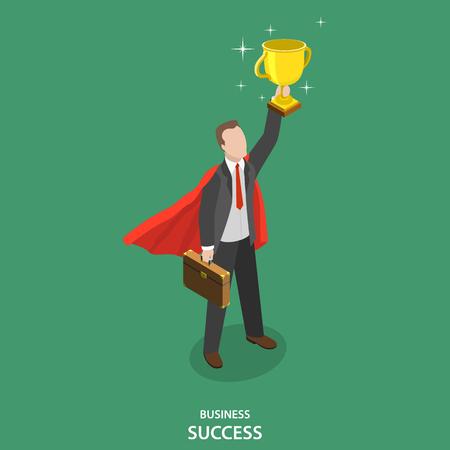El éxito del negocio isométrica vector concepto plana. Feliz hombre de negocios en traje y manto superhéroes toma una taza ganador sobre su cabeza.