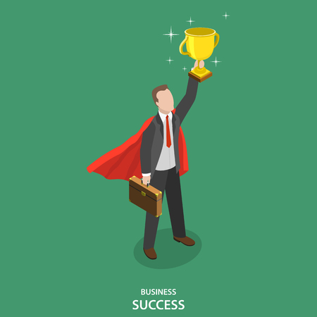 Business success isometric flat vector concept. Happy businessman in suit and superheros cloak takes a winner cup over his head.