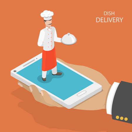 chefs: Dish fast delivery flat isometric vector concept.  Mans hand takes a mobile phone with chef on it, that holds the dish on his hand. Food delivery service.