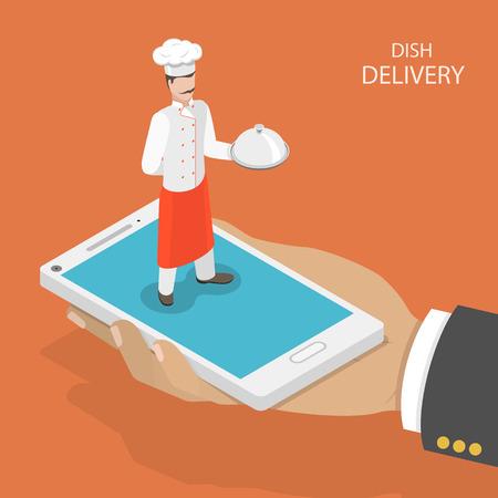 Gerecht snelle levering platte isometrische vector concept. Mans hand neemt een mobiele telefoon met chef-kok op, dat het gerecht op zijn hand houdt. Voedsel bezorgdienst.