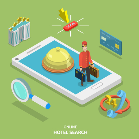 restaurant rating: Hotel search online flat isometric vector concept. Online ticket reservation. Room booking service. Illustration