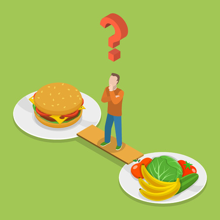 thinking: Health or junk food isometeric flat vector illustration. Man on the bridge between plate with junk and health food is thinking which to choose.