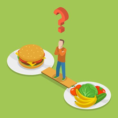 Salud o comida chatarra isometeric ilustración vectorial plana. Hombre en el puente entre la placa de basura y la salud alimentaria es el pensamiento que elegir. Foto de archivo - 48477621