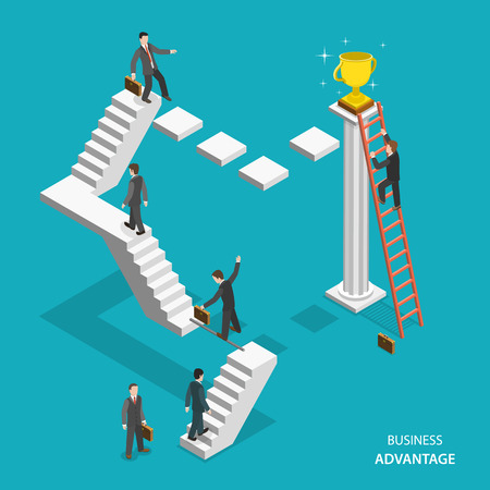 Business advantage isometric flat vector concept. Businessmen are trying to get the winner cup, and only the one of them has red ladder to get it fastest. Innovative thinking, leadership. 일러스트