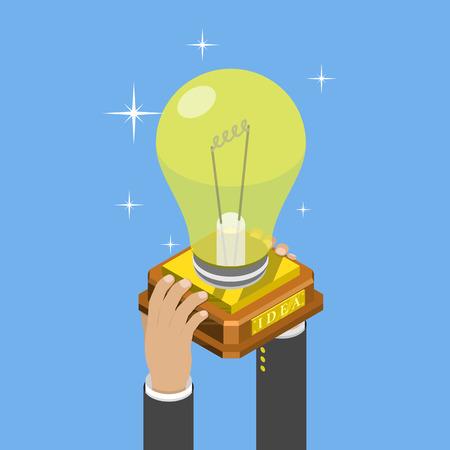 Big idée isométrique concept de vecteur plat. mains Mans prendre une tasse de trophée qui ressemble à une ampoule sur le socle. Illustration