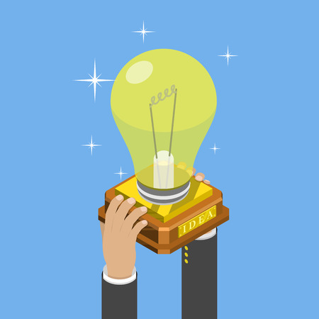 Big idea isometric flat vector concept. Mans hands take a trophy cup that looks like a lightbulb on pedestal.