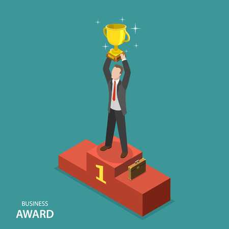 business goal: Business award isometric flat vector concept. Businessman in suit and case is standing on pedestal holding a winner cup over his head.