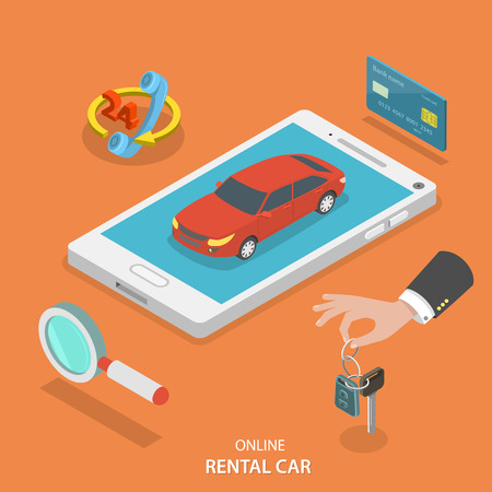 rent: Online rental car service isometric flat vector concept. Red car on the mobile phone surrounded by thematic icons.