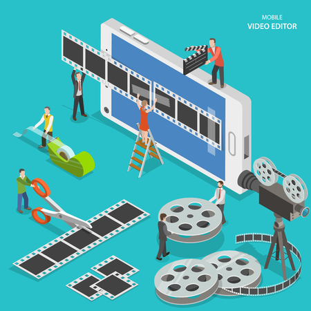 video player: Mobile video editor flat isometric vector concept. People create a movie on smartphone using film strip and sticky tape.