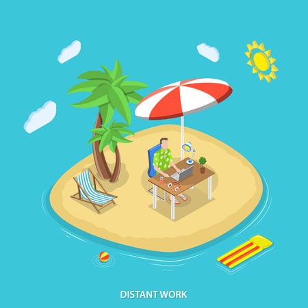 遠い仕事のアイソメ平面ベクトルの概念。テーブルにノート パソコンを持つ男は、熱帯の島に動作します。フリーランス、リモート作業。