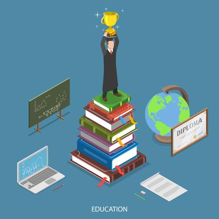 教育等尺性平面ベクトル概念。優勝カップを持つ学生は、教育のシンボルに囲まれた書籍のスタックに滞在します。オンライン教育は、e-ラーニング