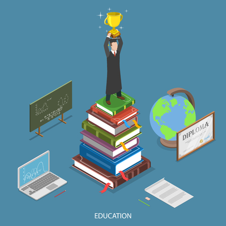 Education isometric flat vector concept. Student with winner cup stay on the stack of books surrounded by education symbols. Online education, e-learning, tutorial, training courses, graduation.