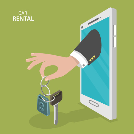 Online rental car service flat vector concept. Hand with car key appeared from white mobile phone.