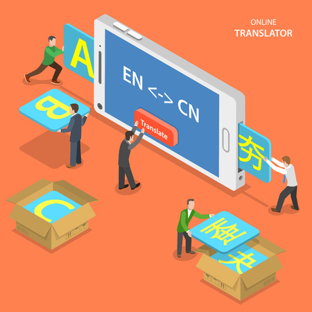 thesaurus: Online translator isometric flat vector concept. People are translating from English to Chinese using mobile phone.
