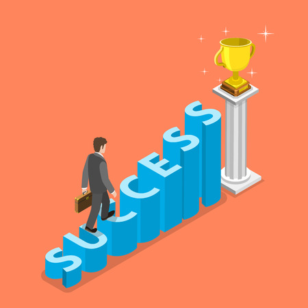 Stairs to success isometric vector concept. Businessman is walking to the winner cup by the stairs that looks like the word SUCCESS. Bussiness strategy, growth, leadership. Illustration