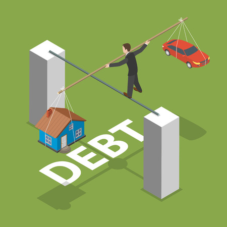 financial burden: Debt isometric flat vector concept. Man walks by thin stick balancing over the abyss with a house and a car.