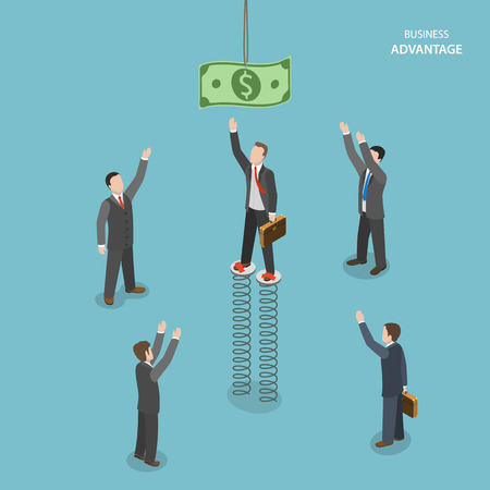 standout: Business advantage isometric flat vector concept. Businessmen are trying to get a dollar banknote, and only one of them can do it using jumping springs.