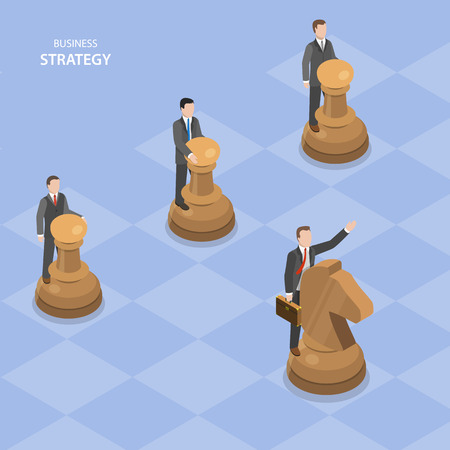 Business stratagy isometric flat vector concept. Businessmen are managing chess figures, one of them manages by a horse and shows others the way to move.