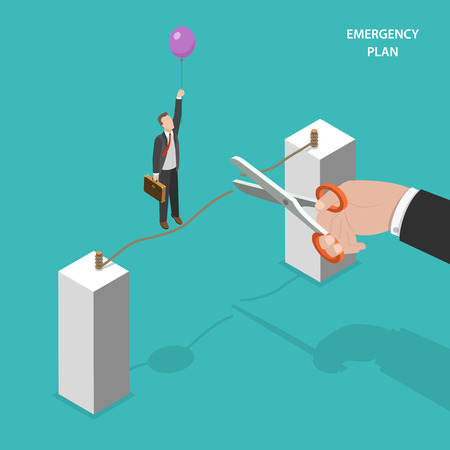 disaster: Business emergency plan isometric flat vector concept. Walking by a rope man saves himself of dropping down by using a baloon. Alternative plan, plan b.