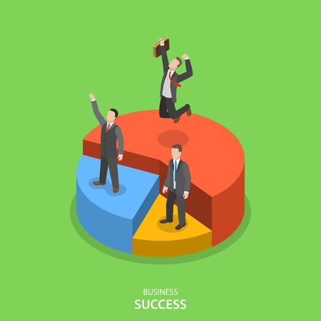 経済的な成功のアイソメ平面ベクトル概念。幸せなビジネスマンは自分の円グラフ セクションによっては、財務実績の上に立っています。