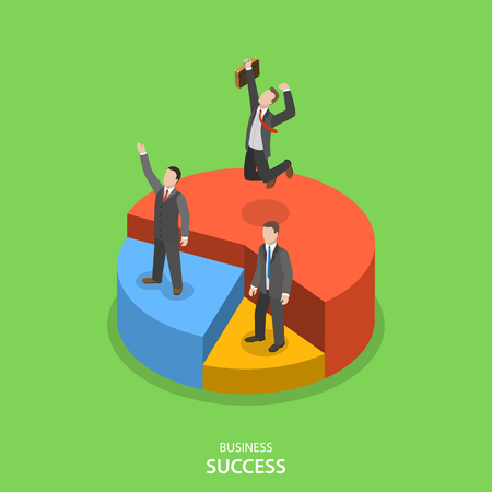 pie: Financial success isometric flat vector concept. Happy businessmen are standing on their own pie chart section depending of their financial performance.