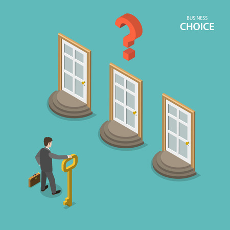 Business choice isometric flat vector concept. Businessman is trying to choose a right door to enter it. Choosing a right way to solve a problem.