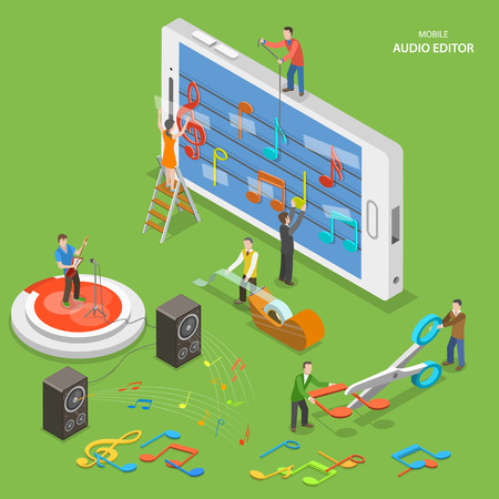 editor: Mobile audio editor flat isometric vector concept. People create a music track on smartphone using notes and sticky tape.