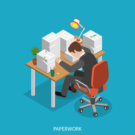 Paperwork isometric flat vector concept. Office worker is very tired  sitting at the table with his head is lain on the paper pile.