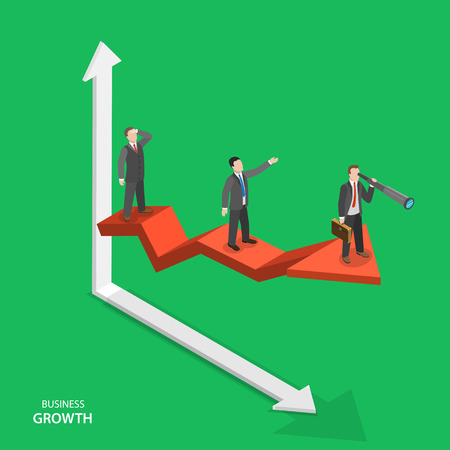 Business growth isometric vector concept. Team of businessmen are on arrow graph moving to success. Team work, leadership, way to success.