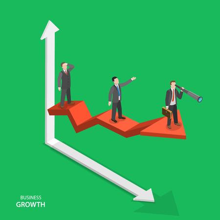 Zakelijke groei isometrische vector concept. Team van zakenlieden op pijl grafiek verhuizen naar succes. Teamwork, leiderschap, weg naar succes. Stockfoto - 49212870