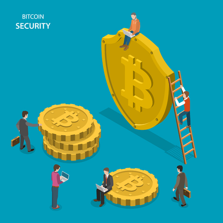 Bitcoin security isometric flat vector concept. People are walking near shield with bitcoin sign and digital coins. Safe transaction, protected transfer.
