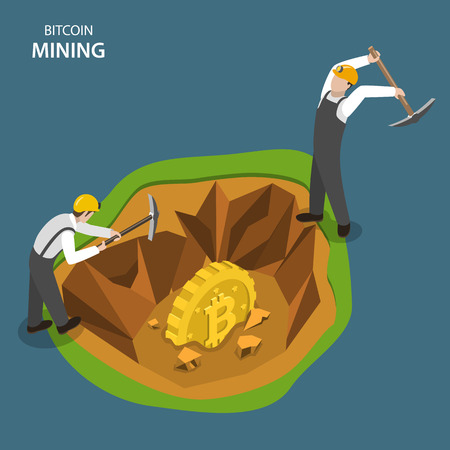 Bitcoin mining isometric flat vector concept. Two miners are digging  with picks to get bit coin.