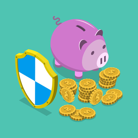financial savings: Safe financial savings isometric flat vector concept. Piggy bank protected by shield. Illustration