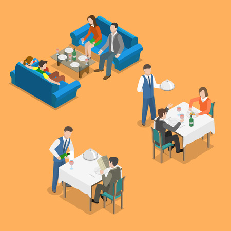 canteen: Restaurant service isometric flat vector concept. People are communicating and eating at restaurant. Illustration
