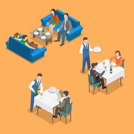 pareja comiendo: servicio de restaurante vector concepto plana isométrica. La gente se comunica y comer en el restaurante.