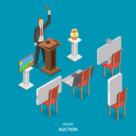 auctioneer: Online auction isometric flat vector concept. Auctioneer conducts an auction, announcing the lots and controlling the bidding. Instead of purchasers on the chairs are smart phones, laptop and pc monitor. Illustration
