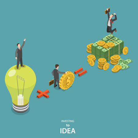 light bulb idea: Investing into idea isometric flat vector concept. Idea plus investor is a huge profit.