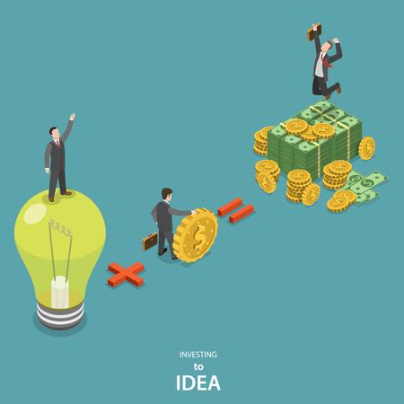 idée: Investir en idée isométrique concept de vecteur plat. Idea, plus l'investisseur est un profit énorme.