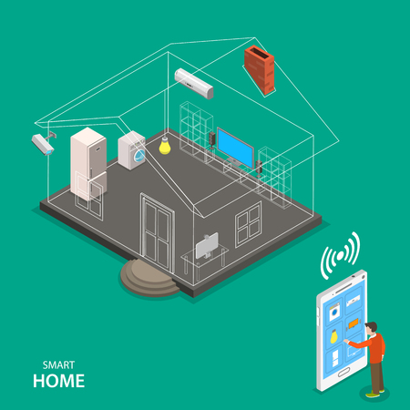 thermostat: Smart home isometric flat vector concept. A man using smart phone is managing appliance of his house.