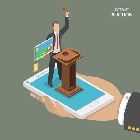 Subastas en Internet isométrica vector concepto plana. Mans mano sostiene un teléfono móvil con subastador que vende una pintura.