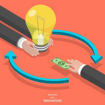 Invertir en innovación plana vector concepto isométrico. Sirve las manos ofrecen bombilla y otra sirve la mano en lugar de ello da el billete de banco.