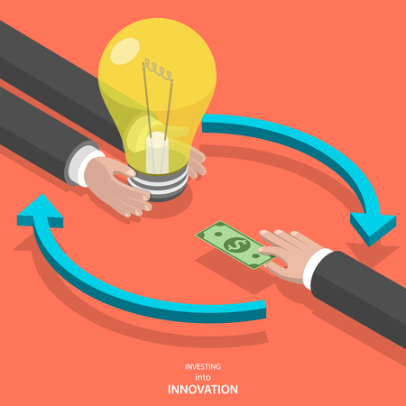 Investing into innovation flat isometric vector concept. Mans hands offer lightbulb and other mans hand instead of it gives bank note. Stock Illustratie