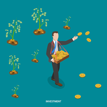 sowing: Investment isometric flat vector concept. Man is walking and sowing coins to grow money trees. Making investments, business growing,  crowdfunding, financial strategy.